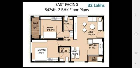 842 sqft, 2 bhk Apartment in ARK Homes Bolarum, Hyderabad at Rs. 32.5000 Lacs