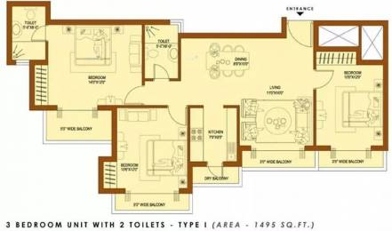 1495 sqft, 3 bhk Apartment in Amrapali Platinum Sector 119, Noida at Rs. 57.0000 Lacs