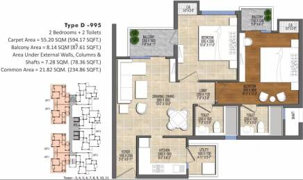 995 sqft, 2 bhk Apartment in Ace Divino Sector 1 Noida Extension, Greater Noida at Rs. 36.0000 Lacs