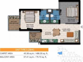 634 sqft, 2 bhk Apartment in Agrante Kavyam Homes Sector 108, Gurgaon at Rs. 19.9307 Lacs