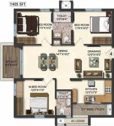 1405 sqft, 3 bhk Apartment in Accurate Wind Chimes Narsingi, Hyderabad at Rs. 80.0000 Lacs