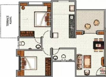 878 sqft, 2 bhk Apartment in Pristine East Winds Wagholi, Pune at Rs. 11000