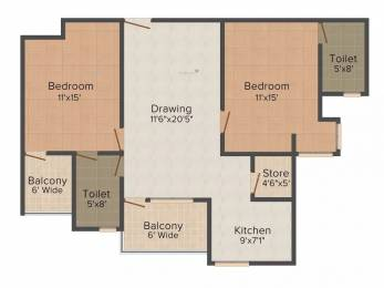 1159 sqft, 2 bhk Apartment in WWICS Imperial Heights Sector 115 Mohali, Mohali at Rs. 12000