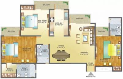 1600 sqft, 3 bhk Apartment in Amrapali Pan Oasis Sector 70, Noida at Rs. 20000
