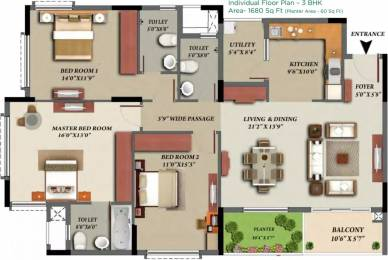 1680 sqft, 3 bhk Apartment in Mantri Glades Sarjapur Road Wipro To Railway Crossing, Bangalore at Rs. 37000