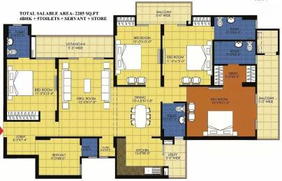 2285 sqft, 4 bhk Apartment in Trident Embassy Sector 1 Noida Extension, Greater Noida at Rs. 13000