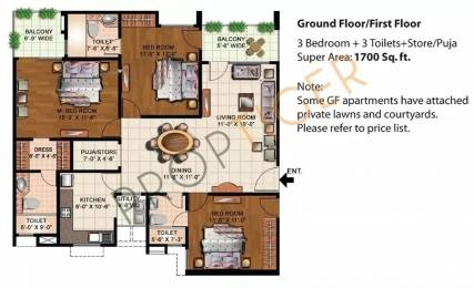 1700 sqft, 3 bhk Apartment in Eldeco Mystic Greens Omicron, Greater Noida at Rs. 13000