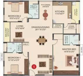 1850 sqft, 3 bhk Apartment in Muppa Green Grandeur Gopanpally, Hyderabad at Rs. 24500