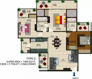 1405 sqft, 3 bhk Apartment in Amaatra Homes Sector 10 Noida Extension, Greater Noida at Rs. 46.3650 Lacs