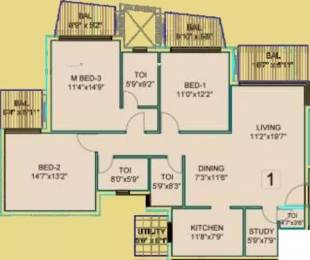 1717 sqft, 3 bhk Apartment in Dhoot Time Residency Sector 63, Gurgaon at Rs. 1.5000 Cr