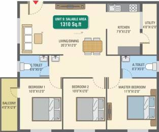 1310 sqft, 3 bhk Apartment in 5 Elements GR Gardenia Electronic City Phase 1, Bangalore at Rs. 46.3740 Lacs