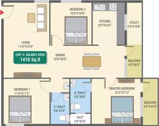 1410 sqft, 3 bhk Apartment in 5 Elements GR Gardenia Electronic City Phase 1, Bangalore at Rs. 49.9140 Lacs
