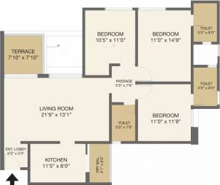 1465 sqft, 3 bhk Apartment in Pride Purple Park Ivory Wakad, Pune at Rs. 1.2000 Cr