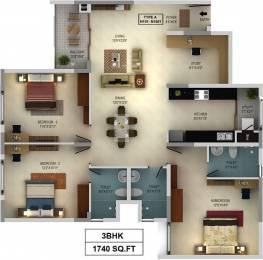 1740 sqft, 3 bhk Apartment in Mantri WebCity Kuvempu Layout on Hennur Main Road, Bangalore at Rs. 1.3900 Cr