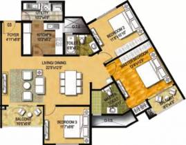 1,555 sq ft 3 BHK + 2T Apartment in Ozone Group Metrozone