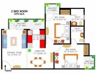 1075 sqft, 2 bhk Apartment in Rishabh Cloud9 Towers Shakti Khand, Ghaziabad at Rs. 13500