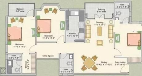 1560 sqft, 3 bhk Apartment in Ashiana Upvan Ahinsa Khand 2, Ghaziabad at Rs. 88.0000 Lacs