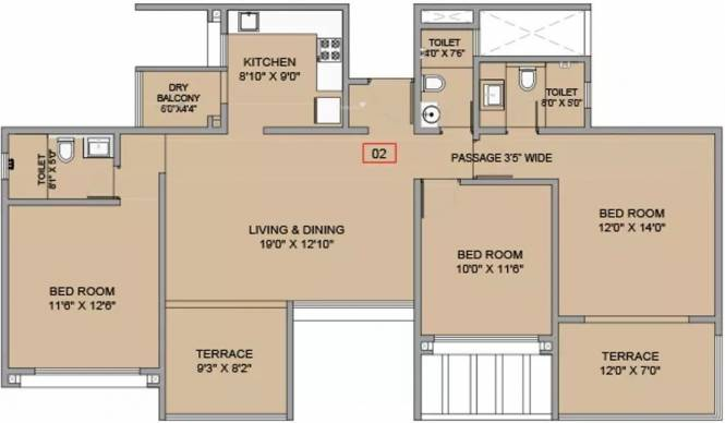 1630 sqft, 3 bhk Apartment in BramhaCorp F Residences Wadgaon Sheri, Pune at Rs. 30000
