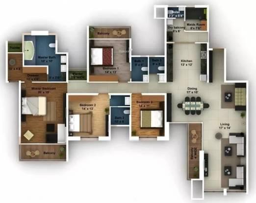 3315 sqft, 4 bhk Apartment in Amanora Aspire Towers Hadapsar, Pune at Rs. 2.1000 Cr