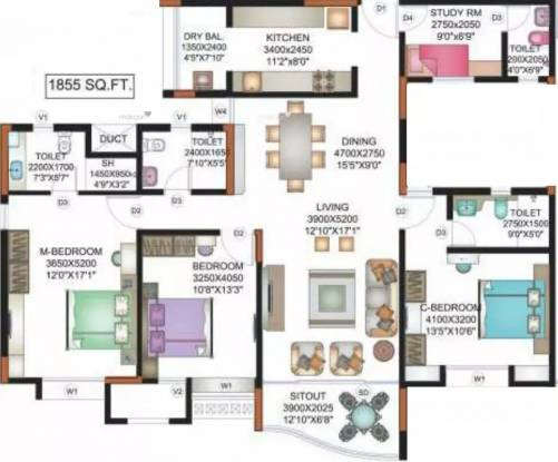 1855 sqft, 3 bhk Apartment in Vascon Forest County Kharadi, Pune at Rs. 32000