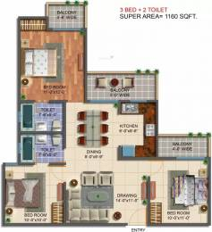 1160 sqft, 3 bhk Apartment in Saviour Green Arch Techzone 4, Greater Noida at Rs. 40.0000 Lacs