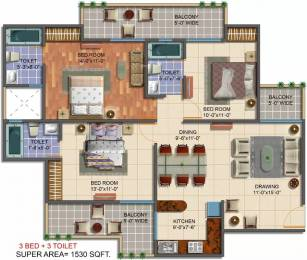 1530 sqft, 3 bhk Apartment in Saviour Green Arch Techzone 4, Greater Noida at Rs. 55.0000 Lacs