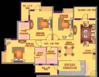 1750 sqft, 3 bhk Apartment in ATS Village Sector 93A, Noida at Rs. 40000