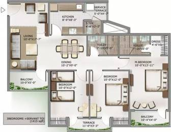 1415 sqft, 3 bhk Apartment in 3C Lotus Panache Sector 110, Noida at Rs. 16000