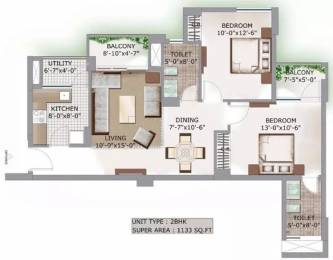 1133 sqft, 2 bhk Apartment in 3C Lotus Boulevard Sector 100, Noida at Rs. 17000