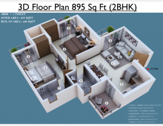 895 sqft, 2 bhk Apartment in Builder Project Greater Noida West, Greater Noida at Rs. 23.8965 Lacs