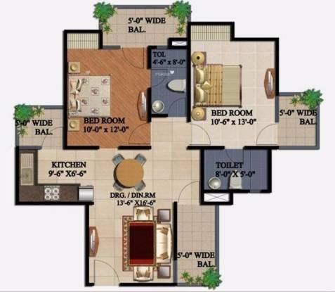 1075 sqft, 2 bhk Apartment in Supertech 34 Pavilion Sector 34, Noida at Rs. 17500