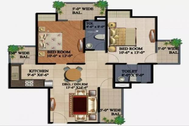 1075 sqft, 2 bhk Apartment in Supertech 34 Pavilion Sector 34, Noida at Rs. 17000