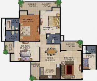 1750 sqft, 3 bhk Apartment in Supertech 34 Pavilion Sector 34, Noida at Rs. 25000