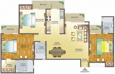 1600 sqft, 3 bhk Apartment in Amrapali Pan Oasis Sector 70, Noida at Rs. 16000