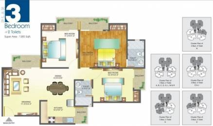 1385 sqft, 3 bhk Apartment in Amrapali Pan Oasis Sector 70, Noida at Rs. 15000
