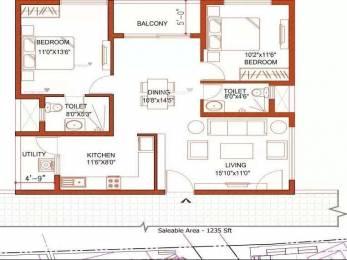 1235 sqft, 2 bhk Apartment in Ramky One Kosmos Nallagandla Gachibowli, Hyderabad at Rs. 53.0927 Lacs