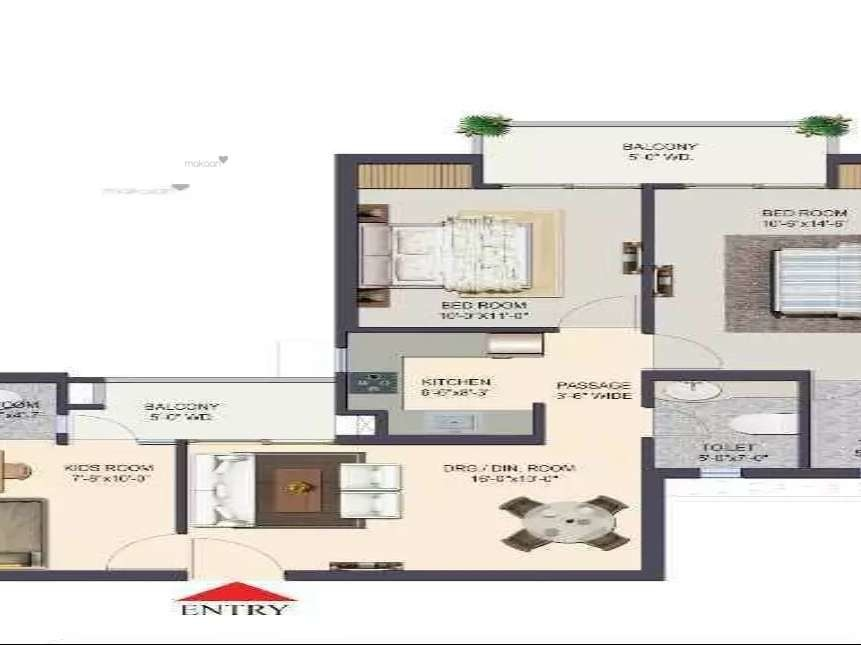 1175 sq ft 2BHK 2BHK+3T (1,175 sq ft) + Study Room Property By Ajmani Estates In Project, Siddharth Vihar