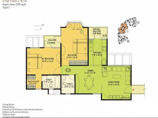 1225 sqft, 2 bhk Apartment in Agarwal Aditya Mega City Vaibhav Khand, Ghaziabad at Rs. 56.0000 Lacs