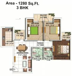 1280 sqft, 3 bhk Apartment in Builder Omaxe Shubhanagan Kasaar Road, Bahadurgarh at Rs. 33.0000 Lacs