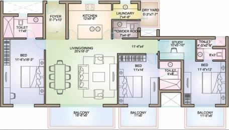 2319 sqft, 3 bhk Apartment in TATA Raisina Residency Sector 59, Gurgaon at Rs. 41000