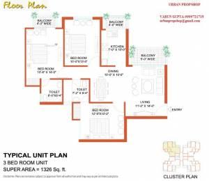 1326 sqft, 3 bhk Apartment in Tulip Tulip White Sector 69, Gurgaon at Rs. 23000