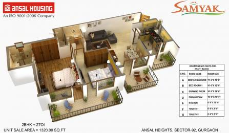 1320 sqft, 2 bhk Apartment in Ansal Heights Sector 92, Gurgaon at Rs. 55.0000 Lacs