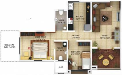 1050 sqft, 2 bhk Apartment in Kolte Patil Margosa Heights NIBM Annex Mohammadwadi, Pune at Rs. 11000