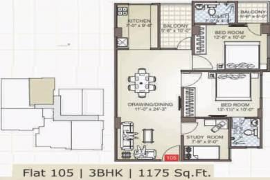 1175 sqft, 2 bhk Apartment in Virasat Enorme Durgapura, Jaipur at Rs. 62.2750 Lacs
