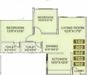 1090 sqft, 2 bhk Apartment in Kumar Papillon Pashan, Pune at Rs. 17000