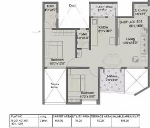 898 sqft, 2 bhk Apartment in Mittal ArcVista Dhanori, Pune at Rs. 12000