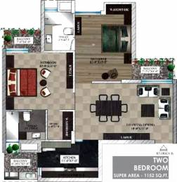 1152 sqft, 2 bhk Apartment in  Maya Garden City Nagla, Zirakpur at Rs. 11500