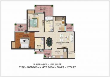1197 sqft, 2 bhk Apartment in JM Florence Techzone 4, Greater Noida at Rs. 36.9873 Lacs