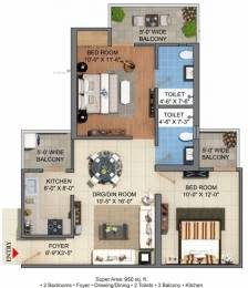 950 sqft, 2 bhk Apartment in JM Florence Techzone 4, Greater Noida at Rs. 29.9520 Lacs