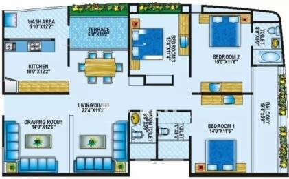 2195 sqft, 3 bhk Apartment in BCM Paradise Mahalakshmi Nagar, Indore at Rs. 25000
